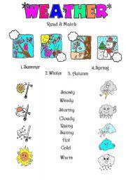 esl worksheets for beginners weather matching. Black Bedroom Furniture Sets. Home Design Ideas