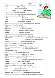 English Worksheet: 195 sentences for simple pserent / future/ past mix !!!