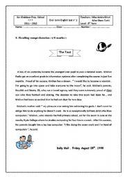 English worksheet: end term test n°1