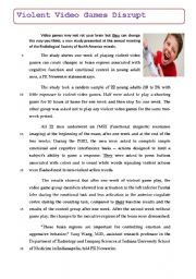 English Worksheet: VIDEO GAMES CAUSE BRAIN CHANGES ON TEENS AND ADULTS