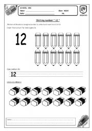 English Worksheets: writing number 12