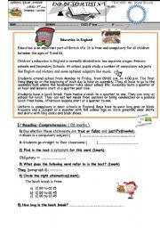 English Worksheet: END OF TERM TEST FOR 8TH FORM