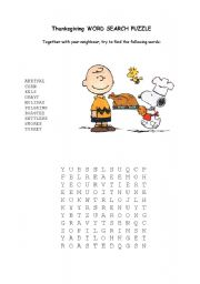 English Worksheet: word search puzzle thanksgiving