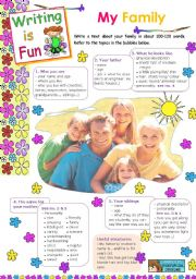 English Worksheet: Writing is Fun 3  -  My Family