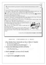 English Worksheet: test 8th grade