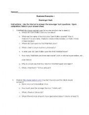English Worksheets: Business Scavenger Hunt