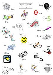 English Worksheets: Magic e words- long i