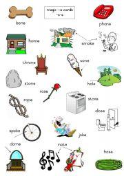 English Worksheets: Magic e words - long o