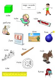 English Worksheets: Magic e words - long u