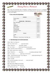 English Worksheet: Ordering a food- AT THE RESTAURANT