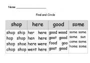 English Worksheets: sight word list 3