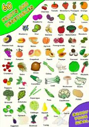 English Worksheet: 60 FRUIT AND VEGETABLES PICTIONARY (5)