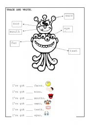 English Worksheets: parts of face