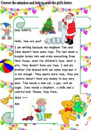English Worksheets: Letter sending. Correct the mistakes and send this letter.