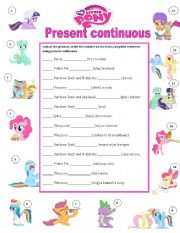 Marvelous English Worksheet: My Little Pony Present Continuous
