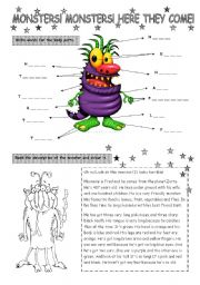 English Worksheet: Monsters! Here they come!