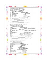 English Worksheets: Grammar Practice, Agreement I