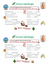 English Worksheet: Let it snow ! Kylie Minogue
