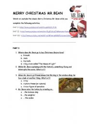 English Worksheets: Video activity: Merry Christmas Mr. Bean