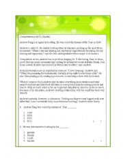 English Worksheets: Comprehension MCQ