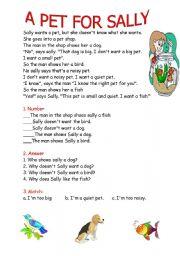English Worksheets: Sally�s pet
