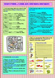 English Worksheet: What is there...? (some, any, how much, how many) + key