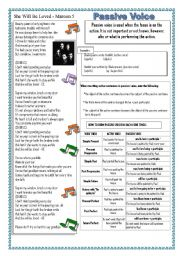 English Worksheet: Someone Like You & She will be Loved -Songs with Passive Voice