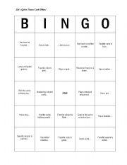 Getting to Know you Bingo - ESL worksheet by lillysnap