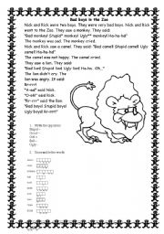 English Worksheets: Bad boys in the zoo