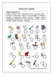 Classroom objects worksheet - ESL worksheet by Future Lee