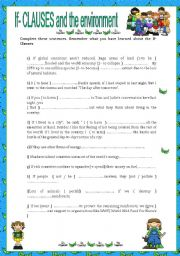 English Worksheet: If- CLAUSES and the environment