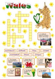 English Worksheet: Wales-crossword puzzle for young learners