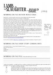 English Worksheets: LAMB TO THE SLAUGHTER_Roald Dahl