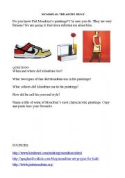 English Worksheets: Mondrian Treasure Hunt