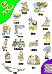 English Worksheets: 50 VERBS PICTIONARY. WOW! (6) 3 WORKSHEETS