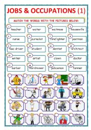English Worksheets: JOBS & OCCUPATIONS - MATCH - Part 1