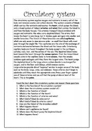 Worksheet Circulatory System Worksheet english teaching worksheets circulatory system system