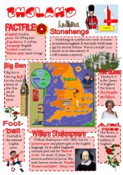 English Worksheet: England-info poster for young learners