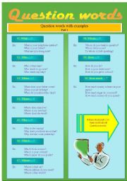 English Worksheets: Improve your knowledge on Question words!