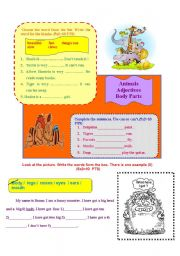 English Worksheet: animal, body part and adjectives worksheet