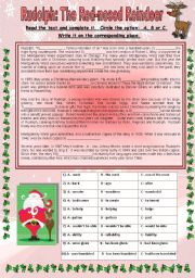 English Worksheet: Rudolph the red-nosed reindeer story