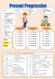 English Worksheets: The Present Progressive Tense