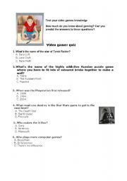 English Worksheet: video games - quiz