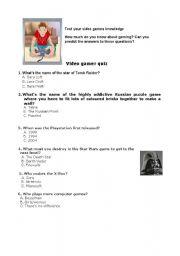 English Worksheet: video games - quiz