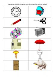 English Worksheets: identify objects and animals