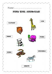 English Worksheets: FIND THE ANIMALS 1