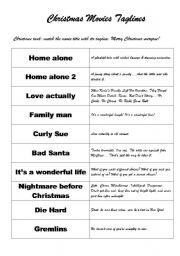 English Worksheets: Christmas Movies taglines