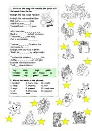 English Worksheet: Merry Christmas _ Rudolph, the red-nosed reindeer