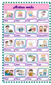 English Worksheet: action verbs pictionary