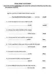 worksheet: MODAL VERBS-RESTATEMENT